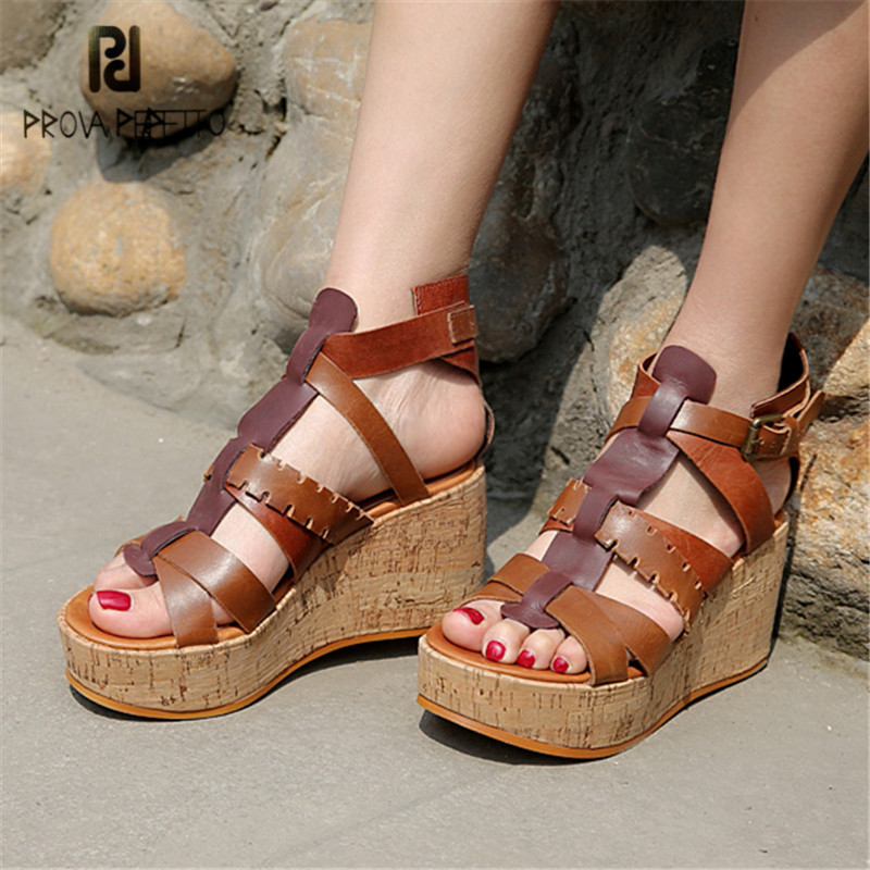 Prova Perfetto Straps Gladiator Sandals Women Platform Pumps Wedge Shoes Woman Sandalias Mujer Wedges Creepers Summer High Heels цена
