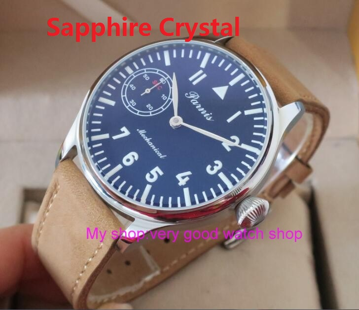 2016 new fashion 44mm PARNIS pilot black dial 6497 3600 Mechanical Hand Wind movement Sapphire Crystal