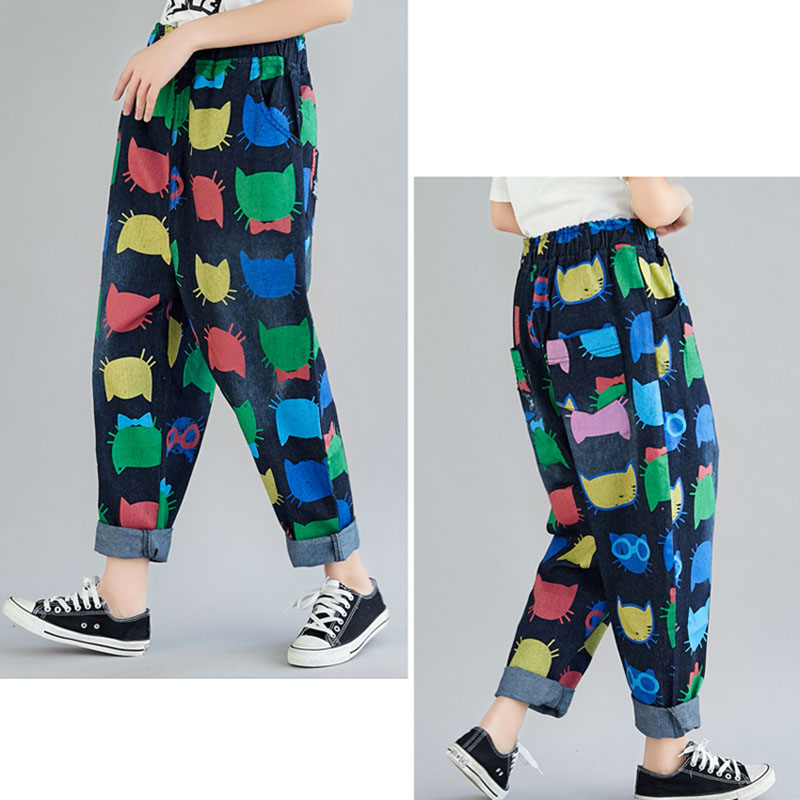 THHONE 2019 Spring Summer High Waist Jeans Women Denim Pants Harem Casual Trousers Print Plus Size Women Jeans Pants Femme Mujer