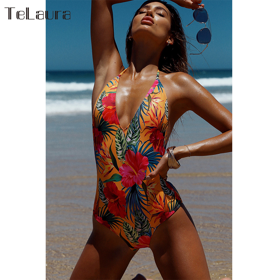 2019 New Sexy One Piece Swimsuit, Women's Swimwear, Push Up Monokini Print Swim Suit, Backless Bathing Suit 12