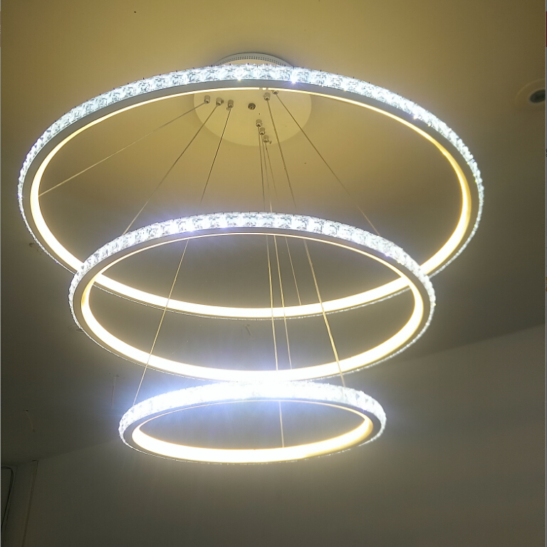New Modern Crystal LED Pendant Lights Dining/Living Room fixtures Three Rings Aluminum Pendant Lamp Lustres Lamparas de techo noosion modern led ceiling lamp for bedroom room black and white color with crystal plafon techo iluminacion lustre de plafond