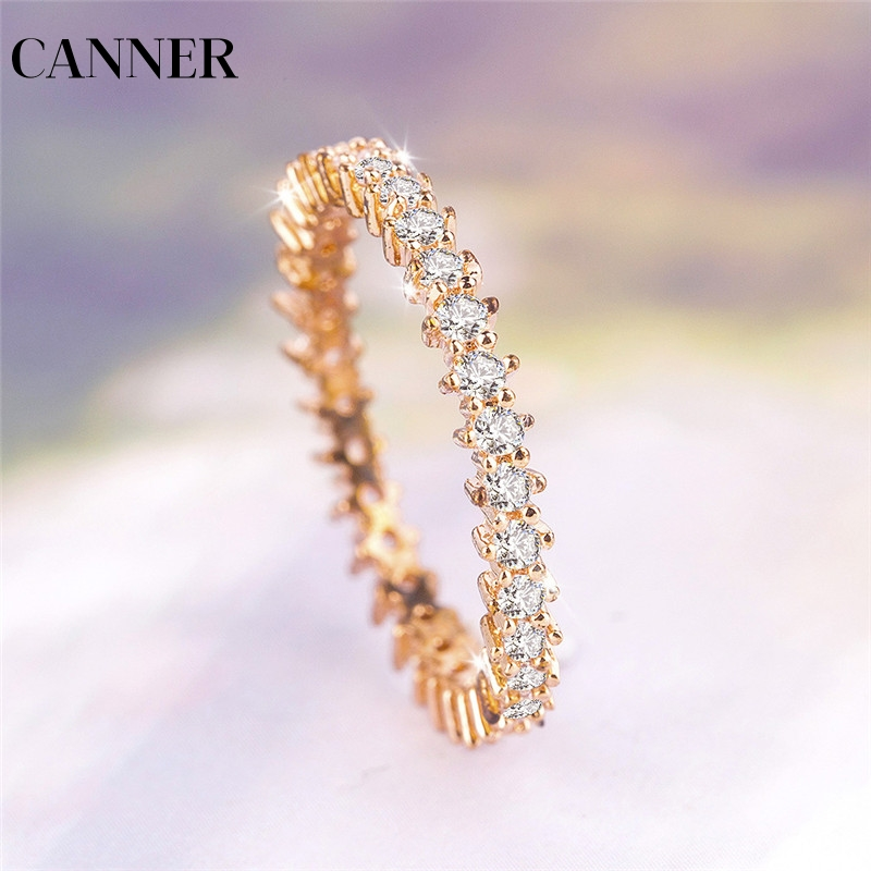 Canner Silver Color Cubic Zirconia Cz Stackable Eternity Ring Trendy Jewelry For Women Best Gift Hot Finger Ring R4 Highly Polished