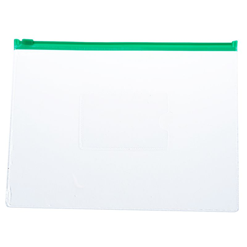 20 Pcs Green Clear Size A5 Paper Slider Ziplock Closure Folders Files Bags
