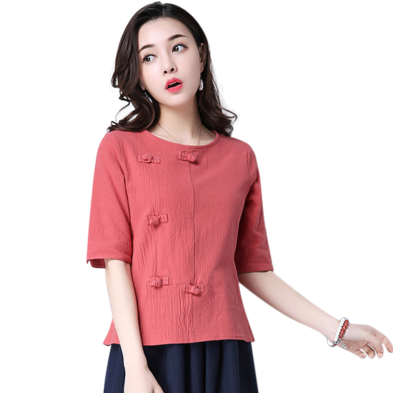 Cotton 2018 Summer Half Sleeve Loose Lady Vintage Women Shirt O Neck Chinese Style Linen T-Shirt Button 3XL 1