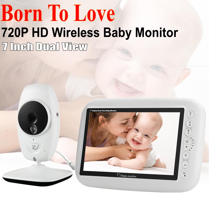 IR Night Vision Intercom 4 Lullaby LCD Screen Nanny Video Baby Monitor 7 Inch Wireless Baby