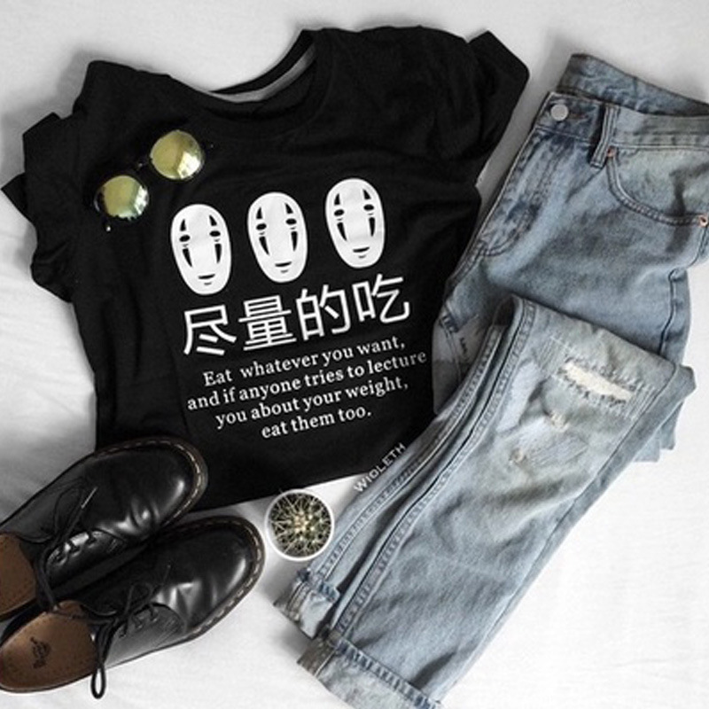 Women T Shirts Eat What You Want Letter Printed Harajuku