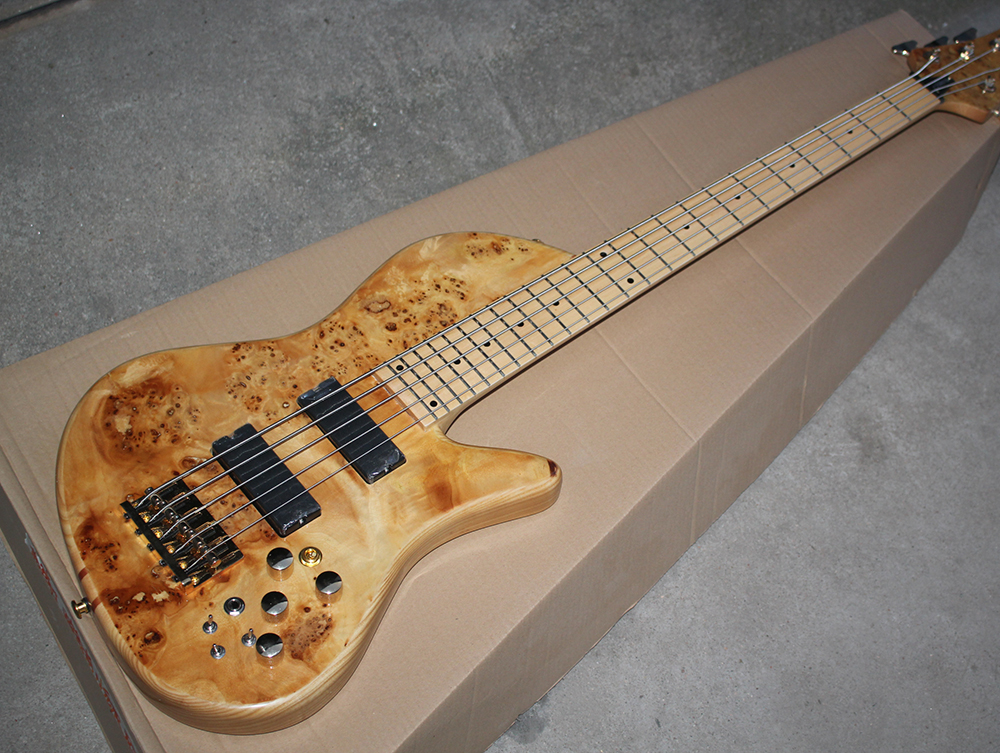 Factory Wholesale 5 Strings Ash Body Electric Bass Guitar With Tree-burl Veneer,maple Fretboard,gold Hardwares Moderate Cost Musical Instruments