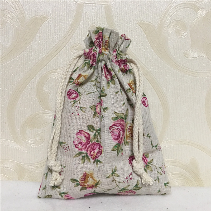 YILE 1pc Cotton Linen Drawstring Multi-purpose Organizer Party Gift Bag Rose Flower 81230