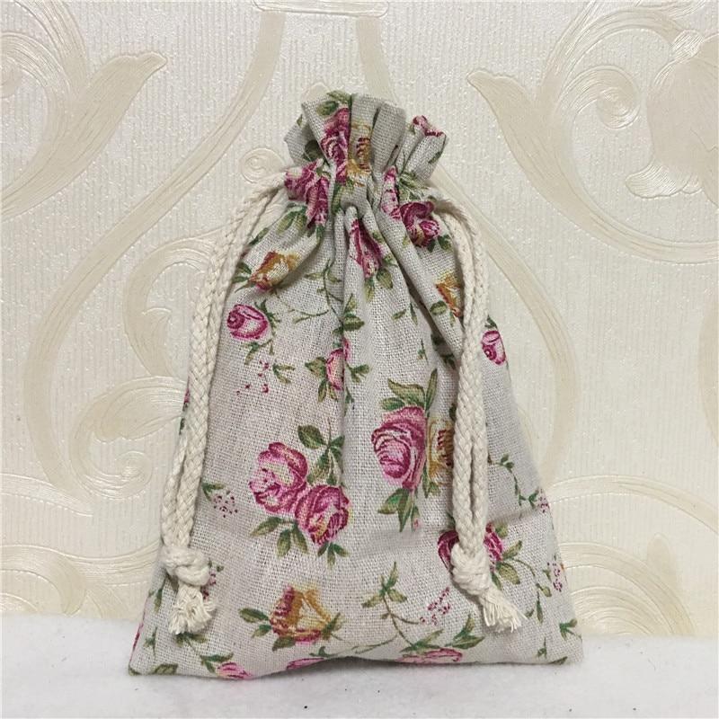 YILE 1pc Cotton Linen Drawstring Multi-purpose Organizer Party Gift Bag Rose Flower 81230