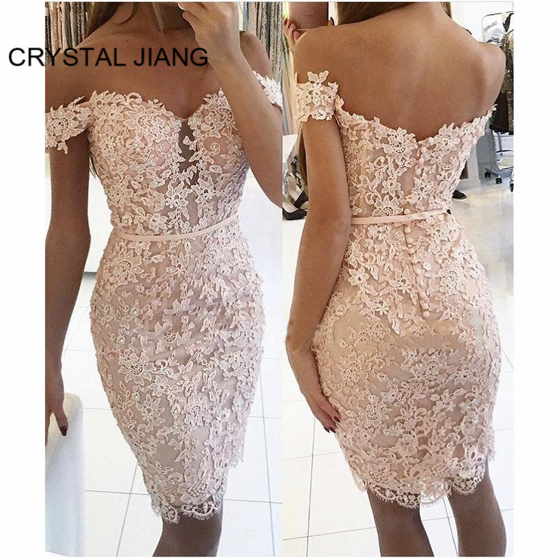 New Arrival 2019   Cocktail     Dresses   Sweetheart Off the Shoulder Lace Applique Beaded Knee Length Formal   Cocktail   Party   Dresses