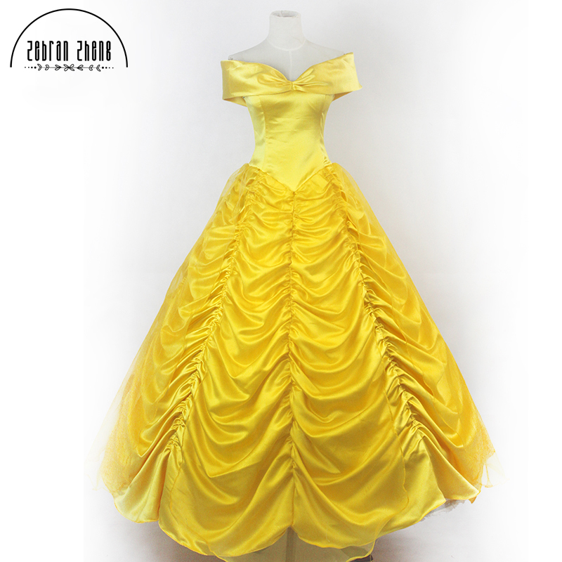 2017 New Moive Beauty And The Beast Princess Belle Cospaly Costume Adult For Halloween Women Costumes A Word Shoulder Dress