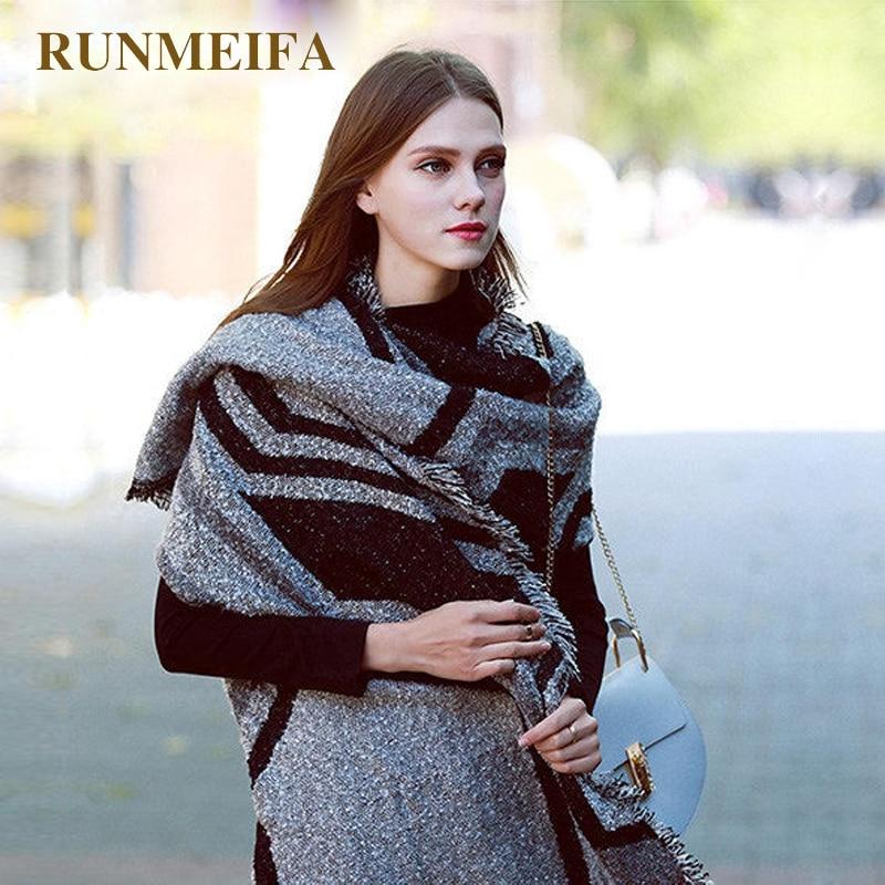 RUNMEIFA 2018 Autumn & Winter New Stock Design 210x70cm Large Scarves Acrylic/wool Scarf For Women Fashion Warm Scarf Shawl