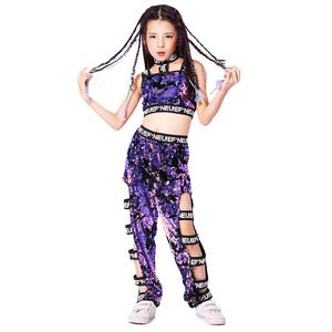 Image 2 - Girls Sequins Hip hop Jazz Stage Dance Costume Street  Dancing Crop Tops Pants Outfits Kids Dancewear Purple