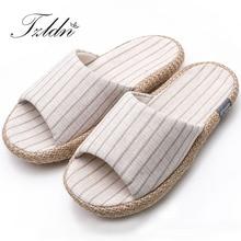 TZLDN/; Домашние женские тапочки из натурального льна; домашняя обувь; бесшумные впитывающие влагу шлепанцы для лета; женские сандалии; тапочки