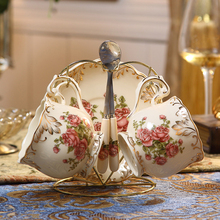Ceramic coffee cup set Golden plated European Style cups tea Coffee Cup and saucer Household drinkware