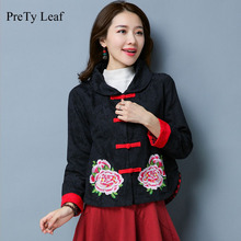 2017 Fall national wind cotton and linen jacquard embroidery short jacket