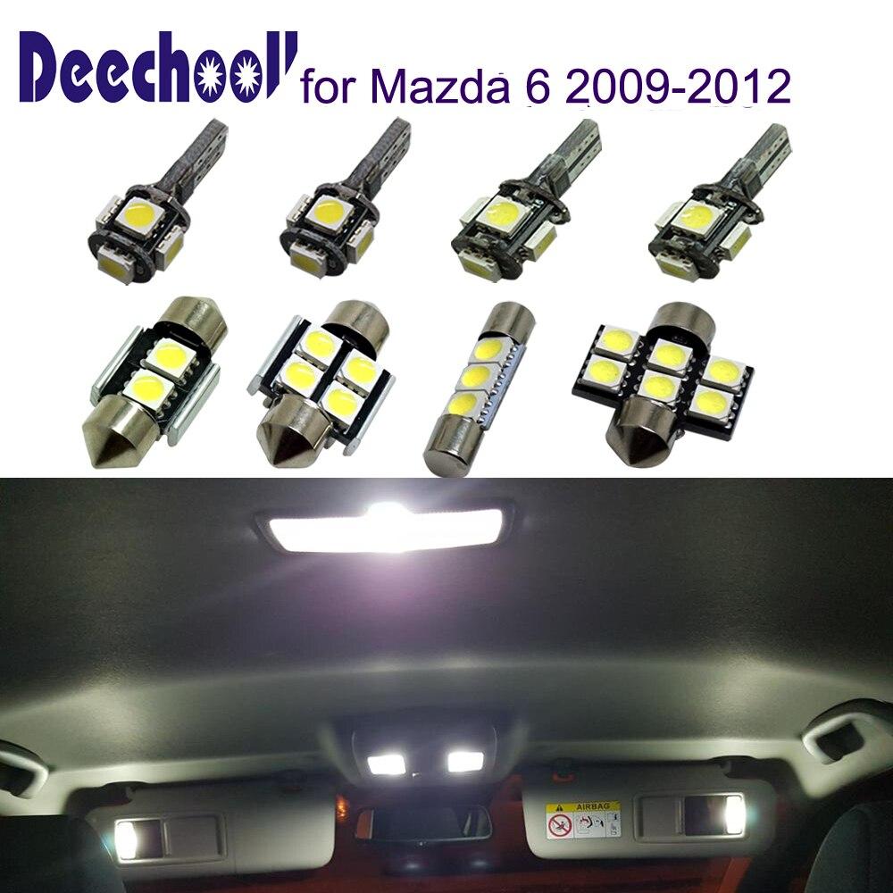 Deechooll 10pcs Car Led Bulbs For Mazda 6 2009 2012 White Interior Light For Mazda 6 2009 2010