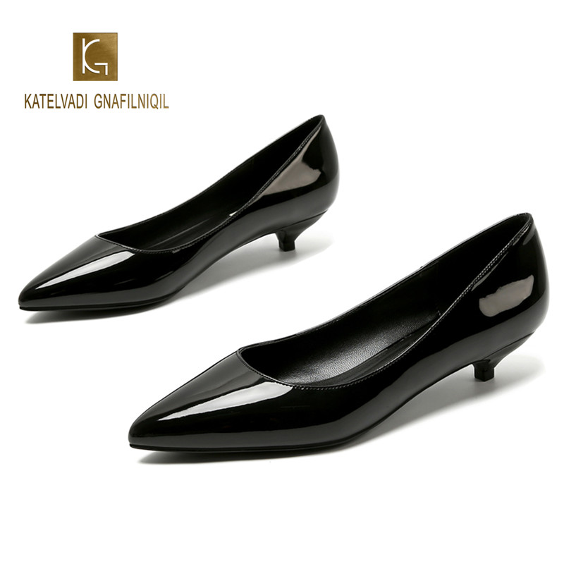 Ladies Shoes Black Pumps Patent Leather 3CM Low Heel Shoe Nude Office Shoes Elegant Women Wedding Party Shoes Big Size K-221