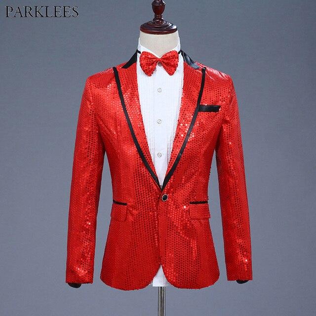 Shiny Red Sequin Glitter Blazer Jacket Men Nightclub DJ Host One Button  Suit Blazer Male Prom Stage Wedding Costumes For Singer 512e61dda72e