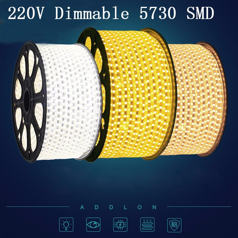 220 V 120 leds / m Flexibele LED Strip 5630 SMD Dimbare Natual Wit - LED-Verlichting