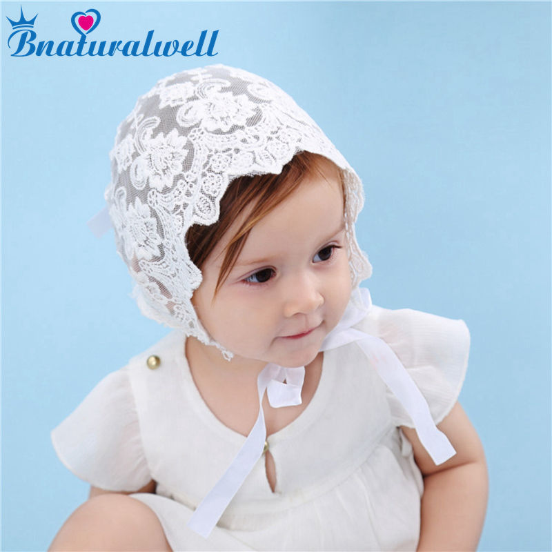 Bnaturalwell Baby Girls White lace bonnet Flowers decor sunhat Size 3-9 mo Christening Bonnet Gift Newborn Photo Prop H832