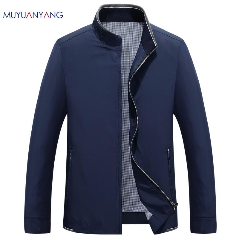 Mu Yuan Yang Autumn And Winter Men Windbreaker Solid Overcoat Male Casual Slim Fit Turn-down Collar Jackets Men Jacket Coat