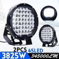 3825 Вт 1/2 шт. 9 дюймов светодиодный черная Автомобильная Поворотная фара + Наводнение стекло фары дальнего света фар с Backet для внедорожник Гру...