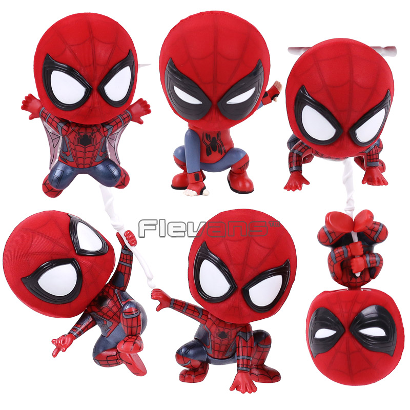 Marvel Spider Man Homecoming The Spiderman Q Version Mini PVC Figures Toys Car Home Decoration Doll 6 Styles цена