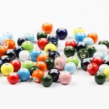 JHNBY 100pcs Glaze Ceramic beads 6/8/10/12MM Round Blue ,White,Black, Red porcelain Loose for Jewelry bracelets making DIY
