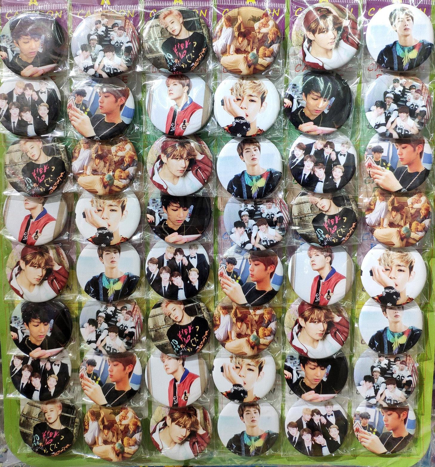 Love merci Bangtan Boys kpop group # A 45MM 16/24/32/40/48 pièces lot broche dos BADGE bouton broche pour sac cadeau jouet tissu