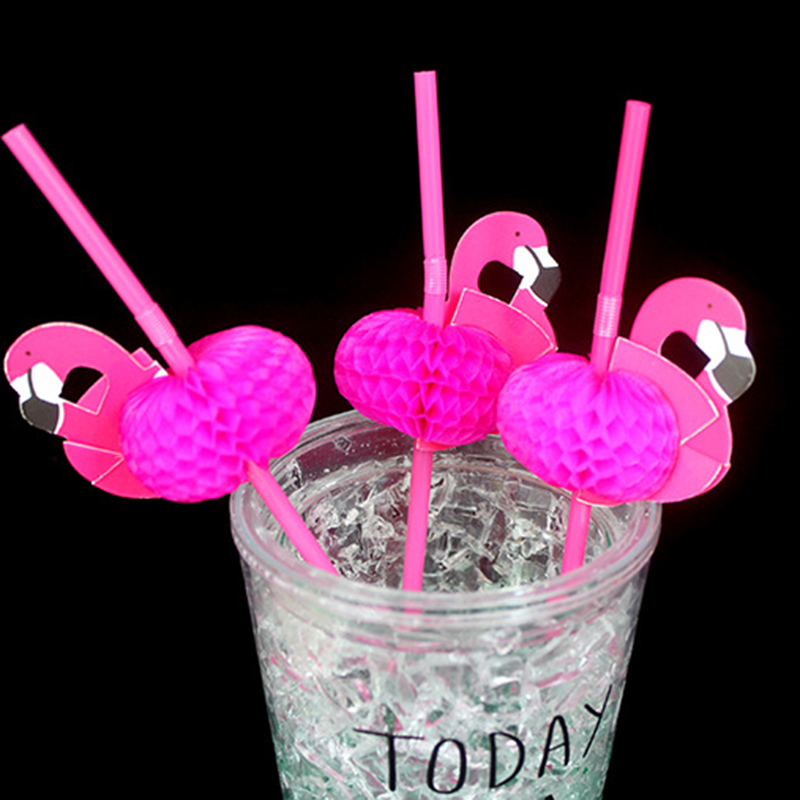 20Pcs/Lot 3D Flamingo Straw Flexible Plastic Drinking Straws Kids Birthday Wedding Pool Party Decoration Supplies C