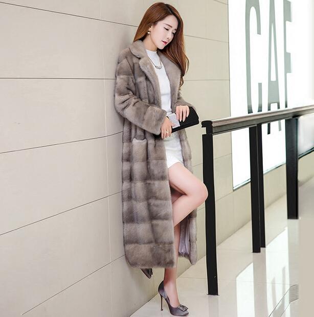 Nuevo abrigo de piel de visón de invierno Pelt Piel de visón hembra abrigo abrigos mujeres sección larga Slim temperamento