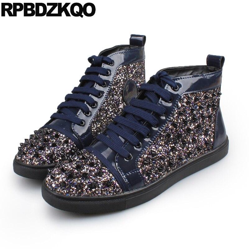 Sneakers forme Cheville Bottes Chaussures Dentelle Glitter Automne bleu Plate Designer Entraîneur Court Rivet or Haute Up Noir Piste Coréen Noir Chaussons UjpqSVLzGM