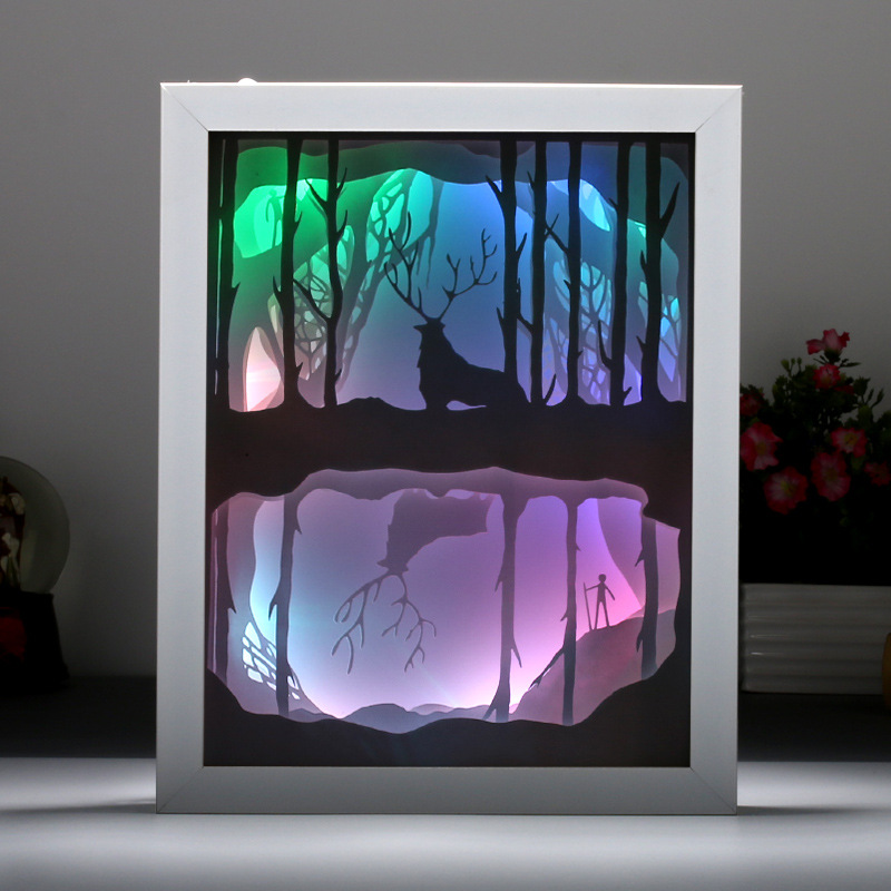 3D stereoscopic light and shadow paper carving light creative LED new strange night light forest plum deer modern energy saving mist forest deer wall hanging tapestry
