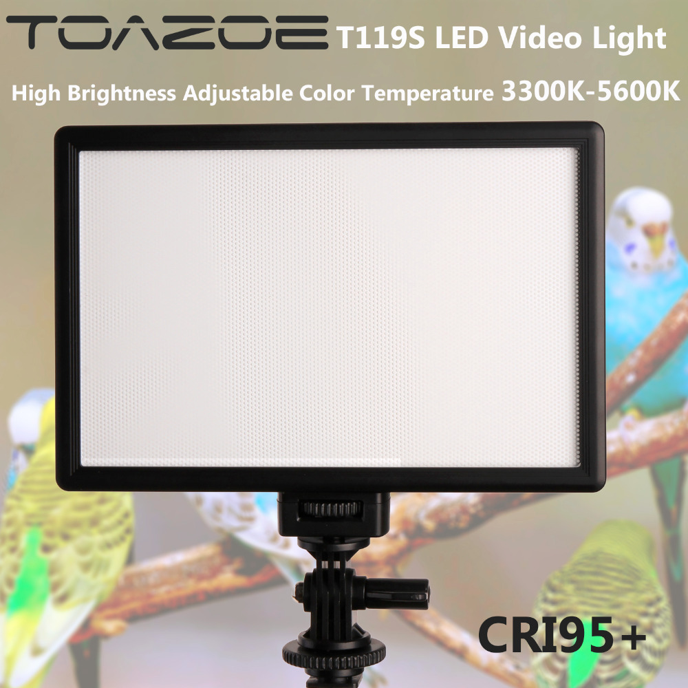 TOAZOE T119S LED Light Light Ultra-subțire LCD Bi-Color Dimmable Studio LED Light Lamp Panou CRI95 + pentru camera DV Cameră video