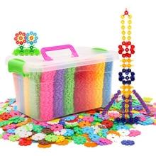 Children Blocks Snowflake Plastic Insert Building Blocks Toys Storage Box 400-1200 Piece Medium Snowflake Children Toys