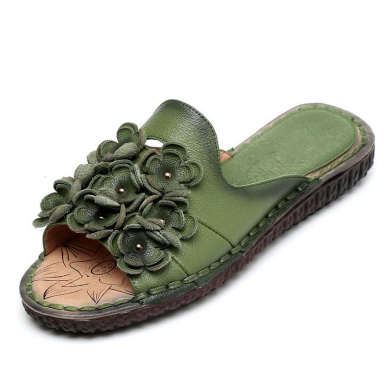 pourpre 2019 Occasionnels Confortables Été rouge Vert En Élégant Chaussures Sandales Pantoufles Fleur Cuir Femmes Nouveau Rétro Véritable Doux raq6Oxrw