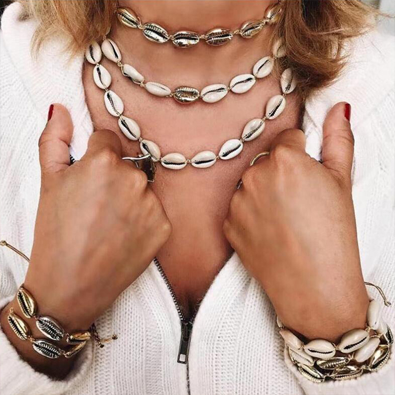 Lalynnlys New Hot Shell Conch Choker Necklace Women Girls Vintage Statement Multi-layer Necklaces Summer Beach Jewelry N68671 2