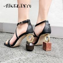 AIKELINYU Top Quality Handmade Women Sandals Strange Wedge Shoes Woman High Heel Gladiator Asymmetric Metal