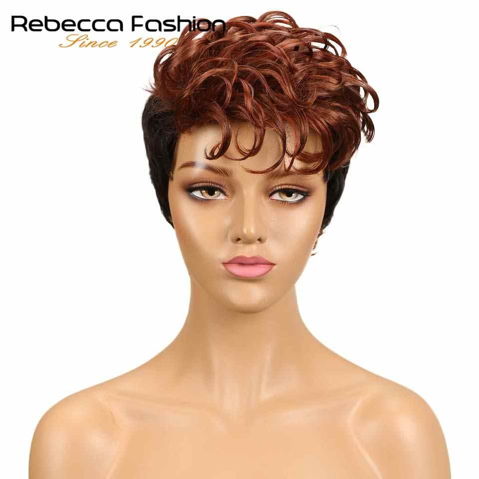 Rebecca Ombre короткий парик из кудрявых волос перуанские Remy человеческие волосы парики для черных женщин смешанные коричневые красные 10 цветов Бесплатная доставка