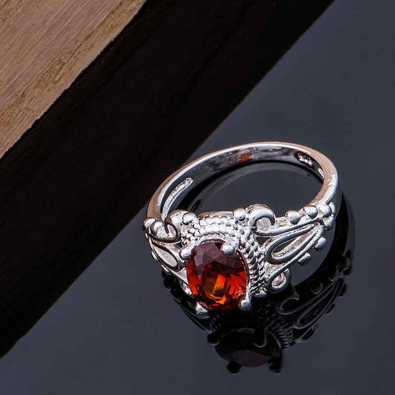2016 neue ankunft stein schwarz rot edle Großhandel versilbert ring 925 modeschmuck Silber Ring ZZEHUXPF