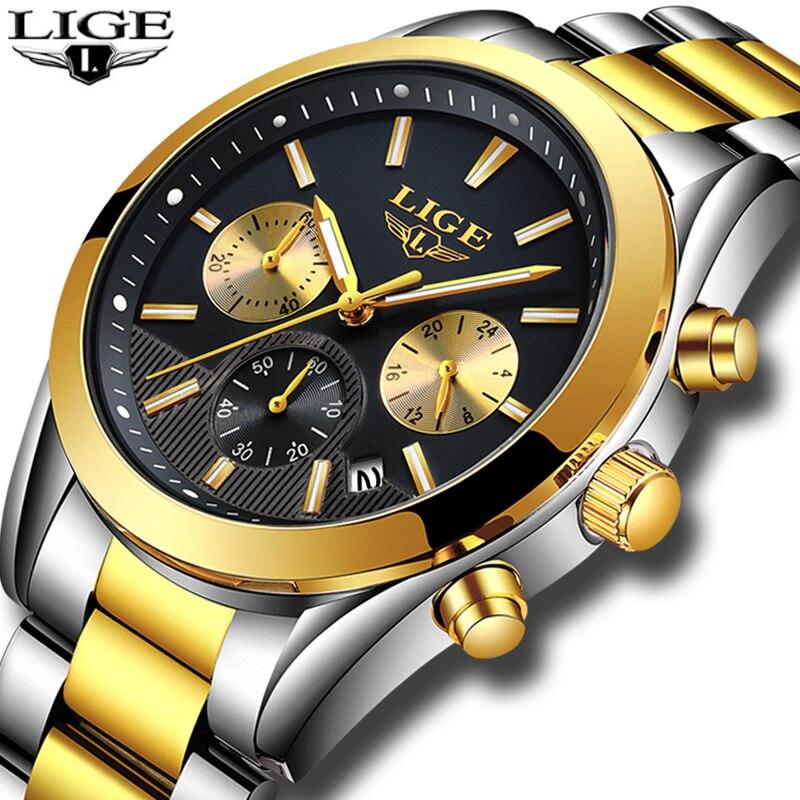 2018 LIGE reloj hombres de negocios de moda reloj de cuarzo relojes para hombre Top marca de lujo de acero completo reloj impermeable Relogio Masculino
