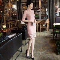 Nueva llegada de la manera corto suede mujeres cheongsam dress damas chinas elegante qipao novedad sexy dress tamaño m l xl xxl 3XLF103029