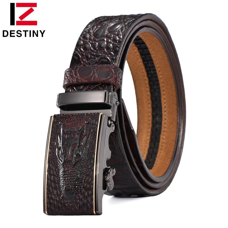 DESTINO Diseñador Cinturones de Los Hombres de Alta Calidad Masculina Correa de Cuero Genuina Cintura Cocodrilo Lujo Famosa Marca de Boda Ceinture Homme