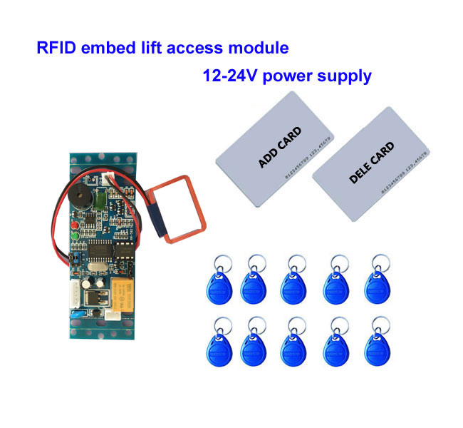 RFID Lift  Embed Control Module,intercom Access  9-24V DC Power 2pcs Mother Card 10pcs Em Key Fob