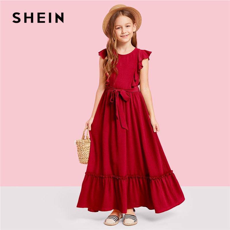 SHEIN Kiddie Burgundy Zipper Back Ruffle Hem Teenage Girl Party Maxi Dress 2019 Summer Green Sleeveless A Line Kid Girls Dresses ruffle trim high split hem cami dress