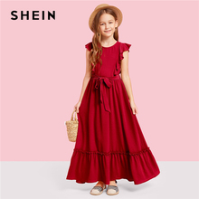 цены SHEIN Kiddie Burgundy Zipper Back Ruffle Hem Teenage Girl Party Maxi Dress 2019 Summer Green Sleeveless A Line Kid Girls Dresses