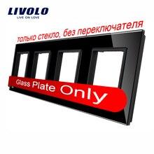 Livolo Роскошный черный жемчуг кристалл Стекло, 294 мм * 80 мм, стандарт ЕС, четверка Стекло Панель для DIY настенный выключатель и разъем