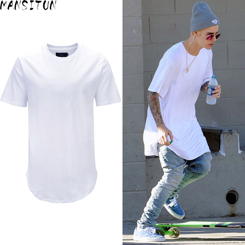 Man Si Tun Summer Men Fashion Steetwear Urban Clothing Long T Shirt with Curved Hem Shir ...