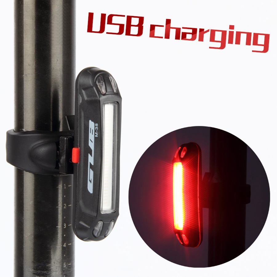 GUB M-38 Bright Bike Tail FlashLight Warning handlebar Rear Light Lamp Bycicle LED Warning Lamp 3 Colors USB Rechargeable Light ...